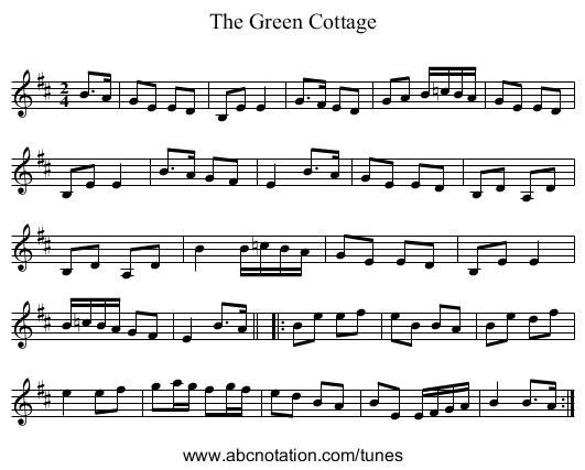 The Green Cottage - staff notation
