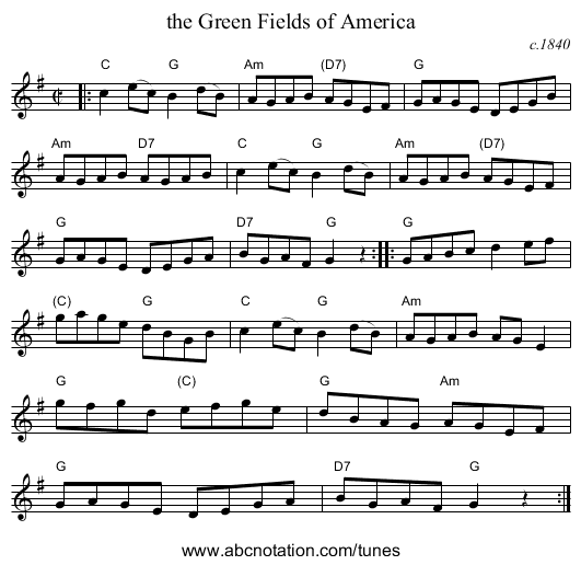the Green Fields of America - staff notation