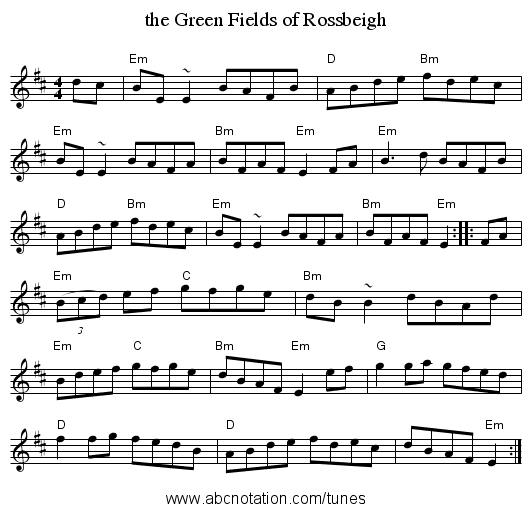 the Green Fields of Rossbeigh - staff notation