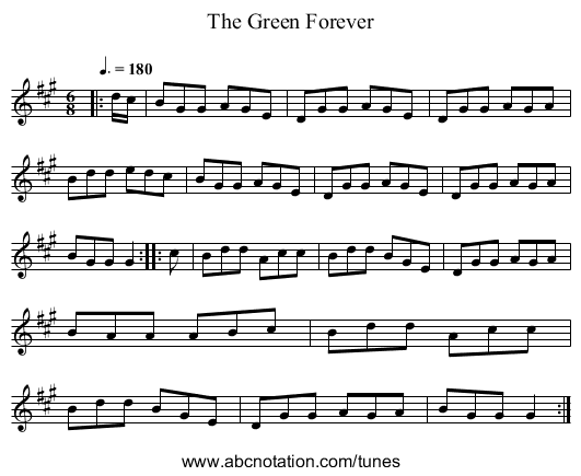 The Green Forever - staff notation