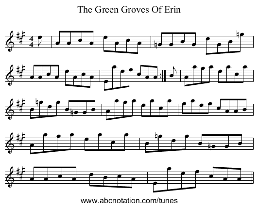 The Green Groves Of Erin - staff notation