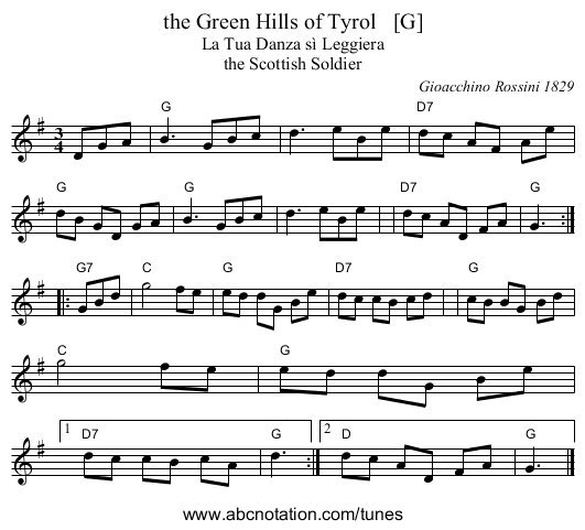 the Green Hills of Tyrol   [G] - staff notation