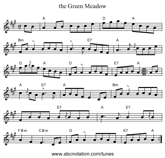 the Green Meadow - staff notation