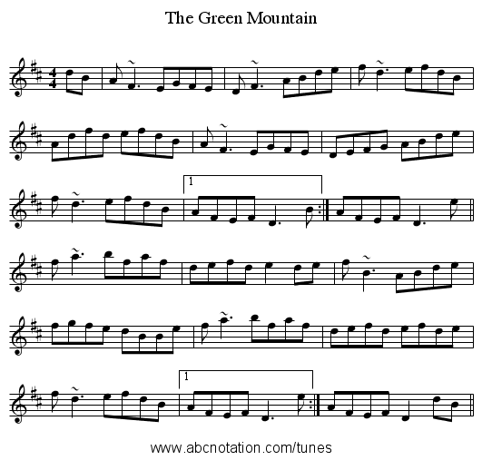The Green Mountain - staff notation