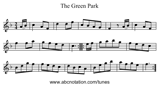 The Green Park - staff notation
