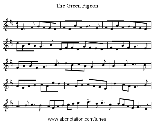 The Green Pigeon - staff notation
