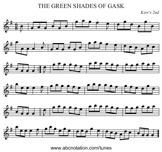 THE GREEN SHADES OF GASK - staff notation
