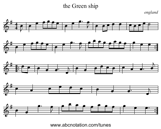 the Green ship - staff notation