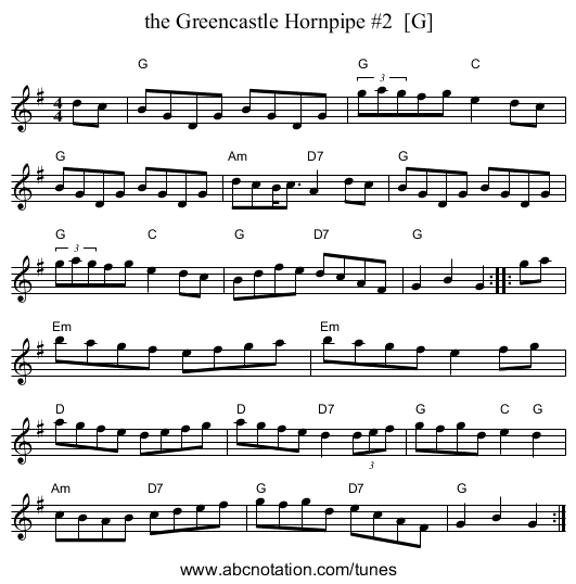 the Greencastle Hornpipe #2  [G] - staff notation