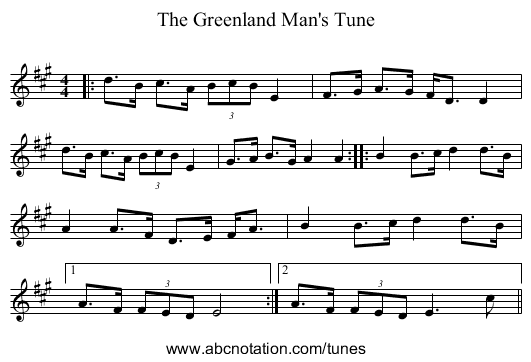 The Greenland Man's Tune - staff notation