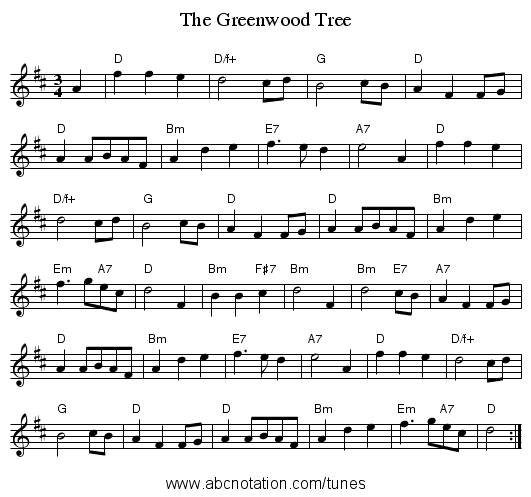 The Greenwood Tree - staff notation