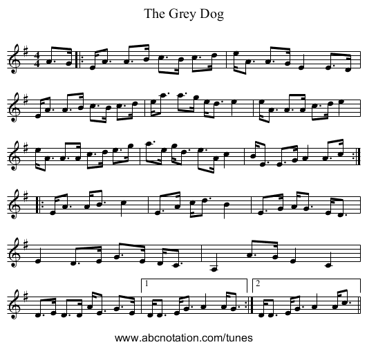 The Grey Dog - staff notation