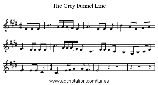 The Grey Funnel Line - staff notation