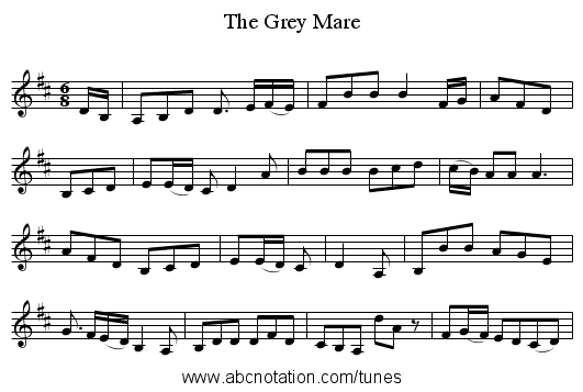 The Grey Mare - staff notation