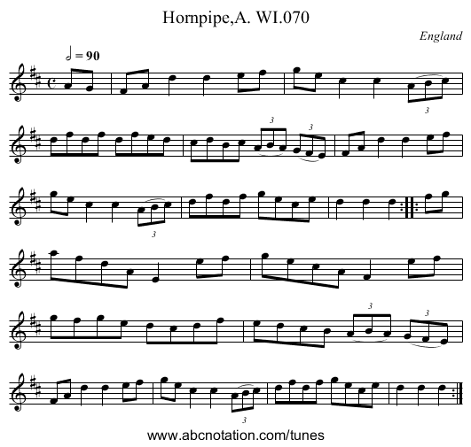 The Griffin Hornpipe - staff notation