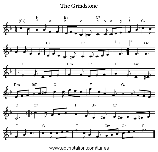 The Grindstone - staff notation