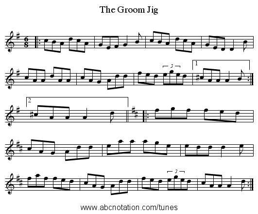 The Groom Jig - staff notation