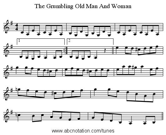 The Grumbling Old Man And Woman - staff notation