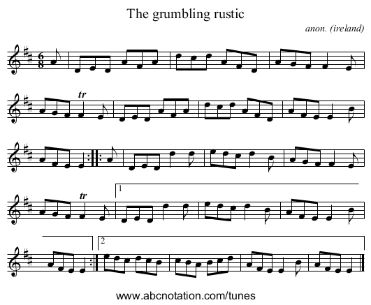 The grumbling rustic - staff notation