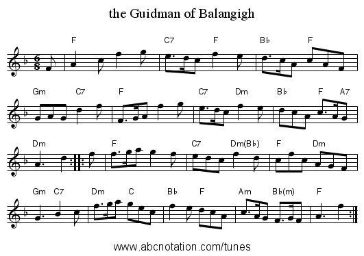 the Guidman of Balangigh - staff notation