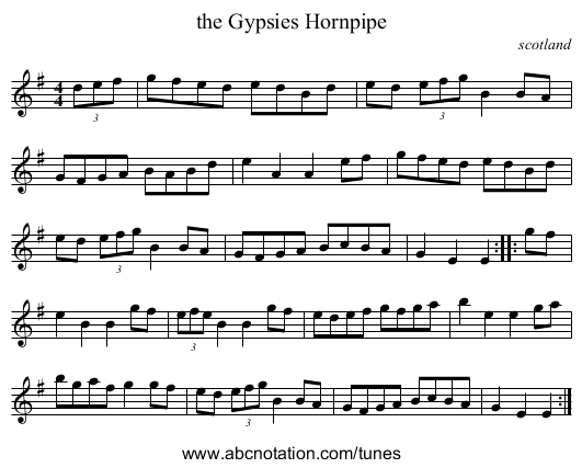 the Gypsies Hornpipe - staff notation