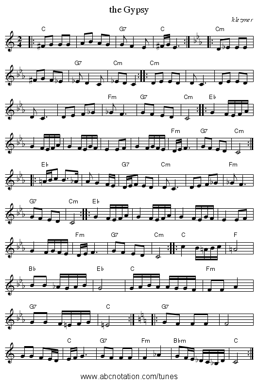 the Gypsy - staff notation