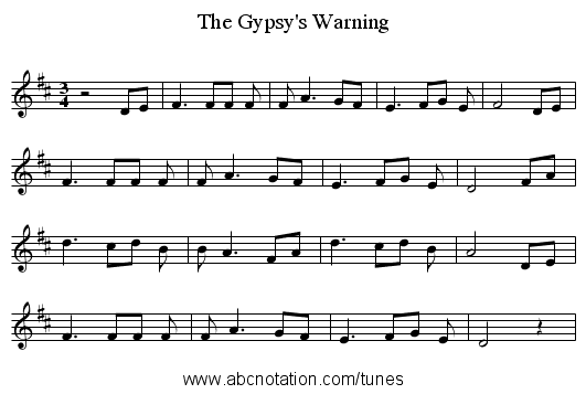 The Gypsy's Warning - staff notation