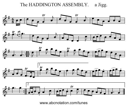 The HADDINGTON ASSEMBLY.     a Jigg. - staff notation