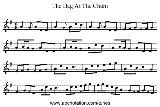 The Hag At The Churn - staff notation