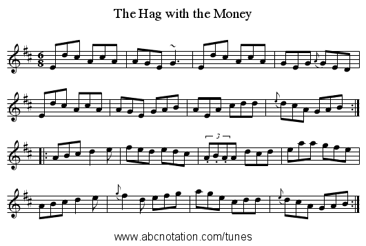 The Hag with the Money - staff notation