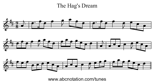 The Hag's Dream - staff notation