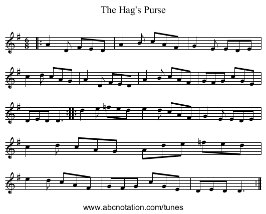 The Hag's Purse - staff notation