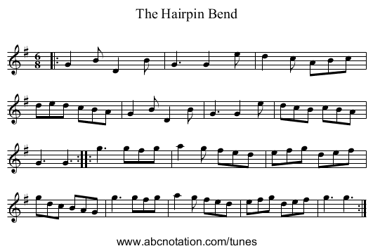 The Hairpin Bend - staff notation