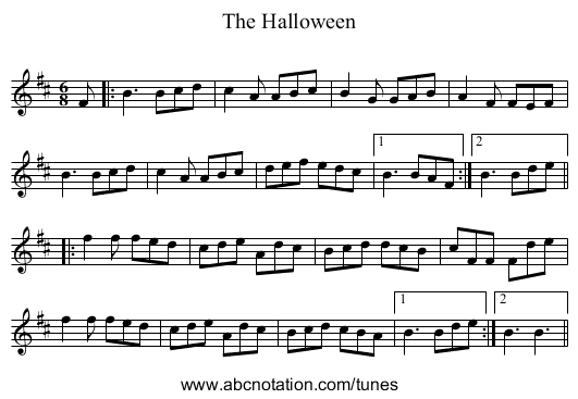 The Halloween - staff notation