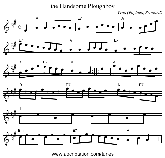 the Handsome Ploughboy - staff notation