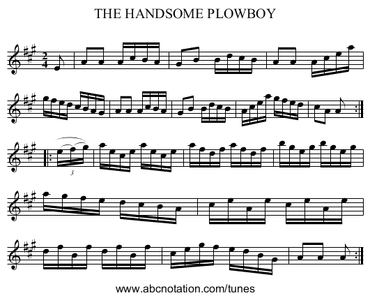 THE HANDSOME PLOWBOY - staff notation