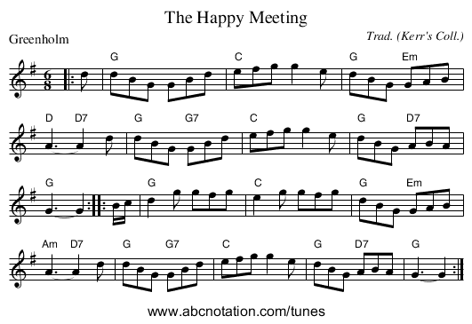 The Happy Meeting - staff notation