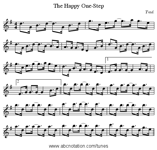 The Happy One-Step - staff notation