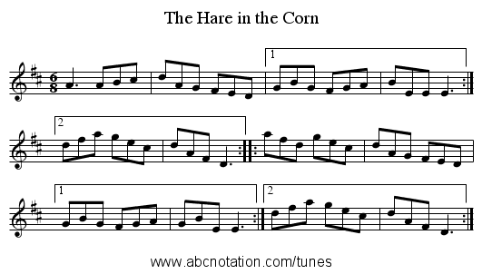 The Hare in the Corn - staff notation