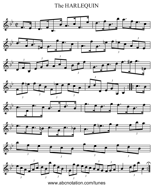 The HARLEQUIN - staff notation