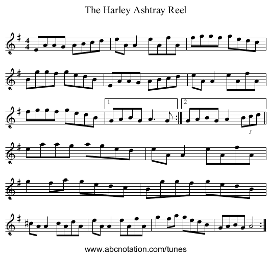 The Harley Ashtray Reel - staff notation