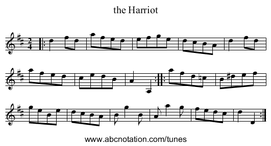 the Harriot - staff notation