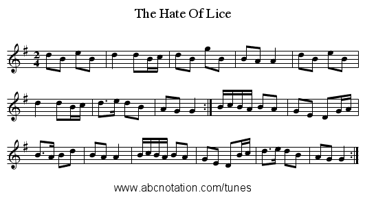 The Hate Of Lice - staff notation