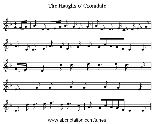 The Haughs o' Cromdale - staff notation