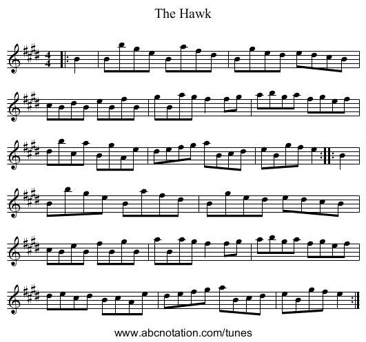 The Hawk - staff notation