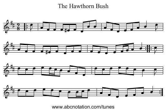 The Hawthorn Bush - staff notation