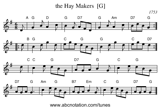 the Hay Makers  [G] - staff notation