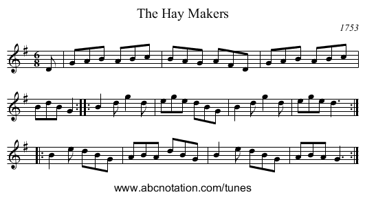 The Hay Makers - staff notation