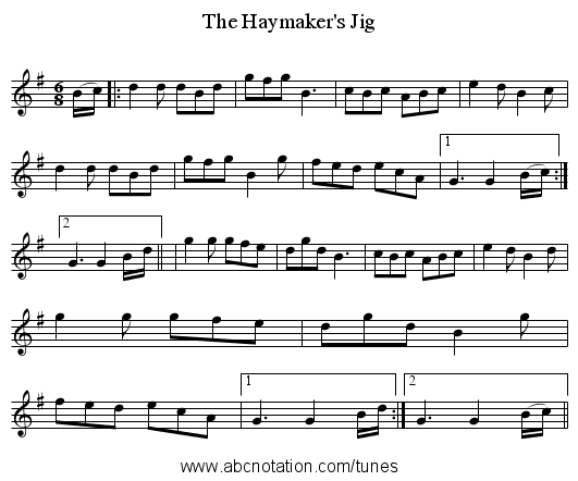 The Haymaker's Jig - staff notation