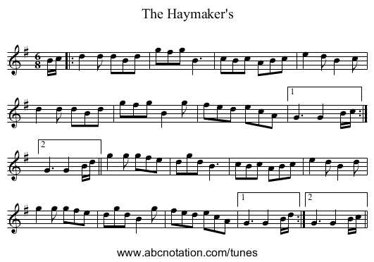 The Haymaker's - staff notation